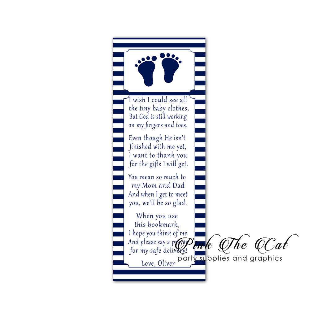 25 Bookmarks Navy Blue White Stripes Footprints