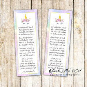 50 bookmarks unicorn face baby shower