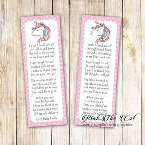 Unicorn baby shower bookmarks rainbow pink printable personalized