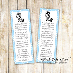 Bookmarks blue zebra baby shower printable personalized