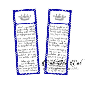 25 Bookmarks Prince Royal Blue Silver Baby Shower Favors