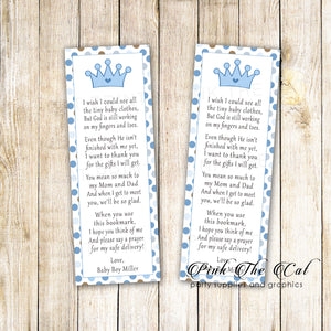 25 bookmarks prince crown baby shower blue brown silver personalized