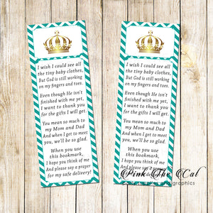 50 bookmarks prince princess baby shower teal gold