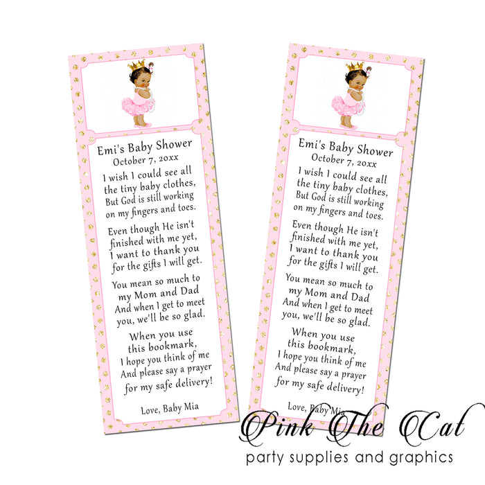 25 Bookmarks Princess Vintage Baby Shower