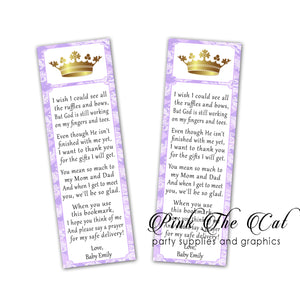 25 Bookmarks Princess Lavender Gold Baby Shower Favors
