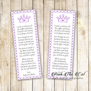 Bookmarks purple lillac princess baby shower printable personalized