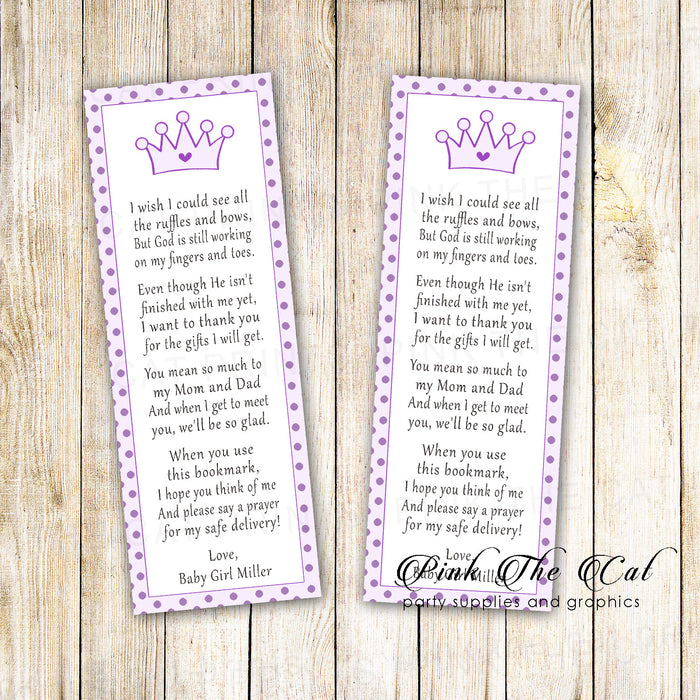 Bookmarks purple princess baby shower printable