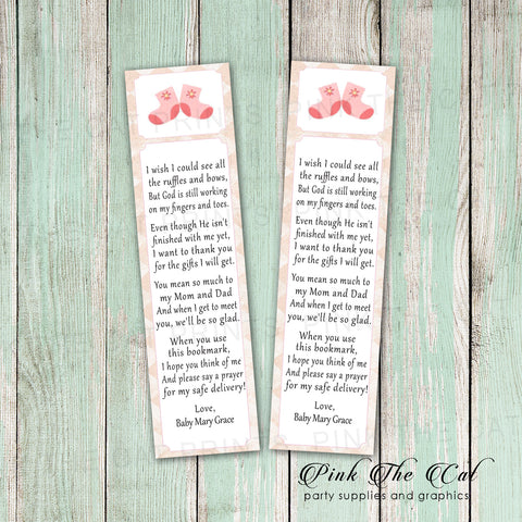 50 Printed Bookmarks Baby Shower Girl Pink Booties