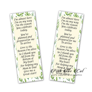 25 Bookmarks Greenery Botanical Baby Shower Favors Gender Neutral