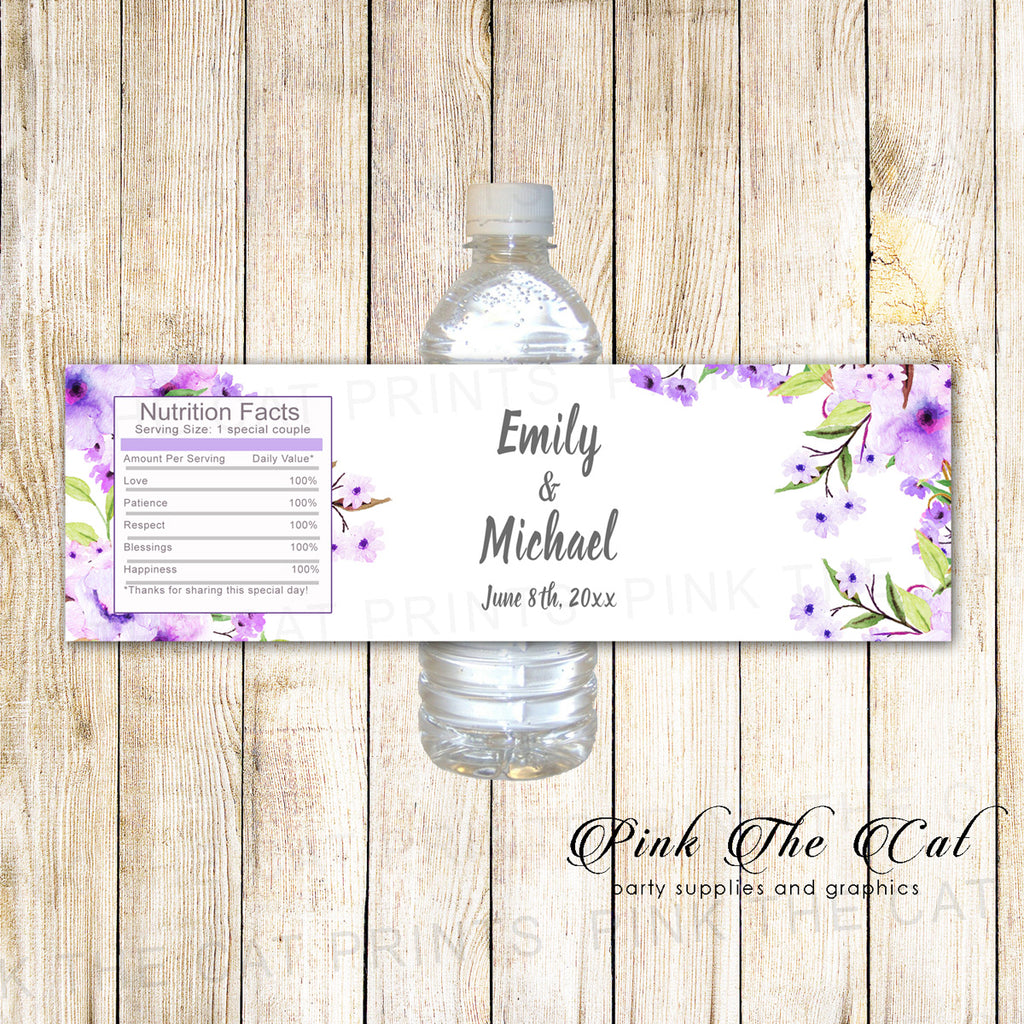 Boho Lavender Mint Water Bottle Labels 100 pack printed