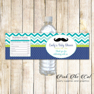 30 Bottle Labels Mustache Boy Baby Shower Teal Blue