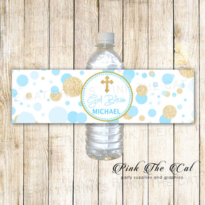 Confetti Baptism Bottle Labels Blue Gold Glitter For Boys Pack of 100