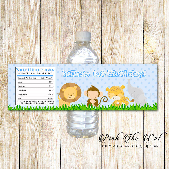 Jungle Blue Bottle Labels Baby Shower Birthday