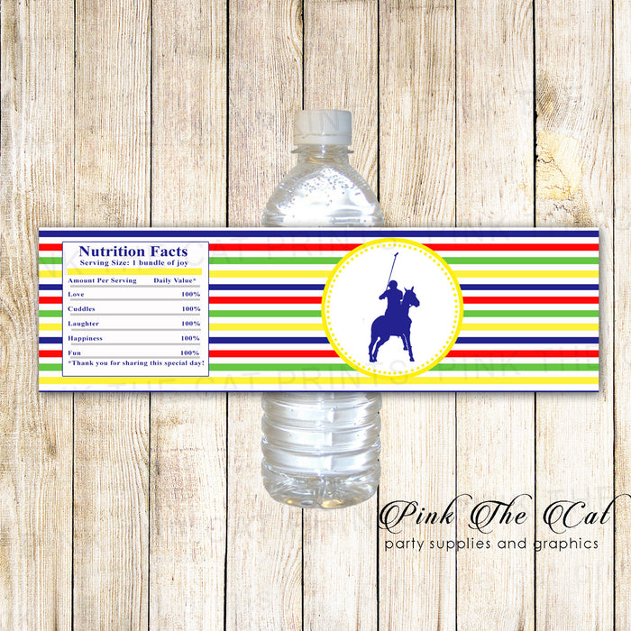30 Bottle Labels Polo Birthday Baby Shower Yellow Green Blue