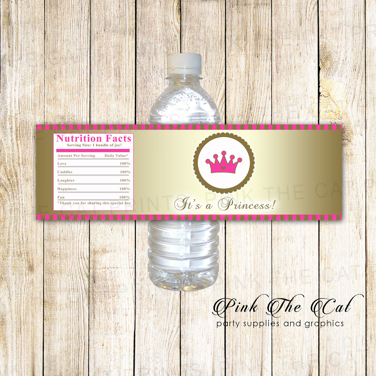 photograph relating to Printable Bottle Labels named Princess bottle label boy or girl shower birthday gold purple printable