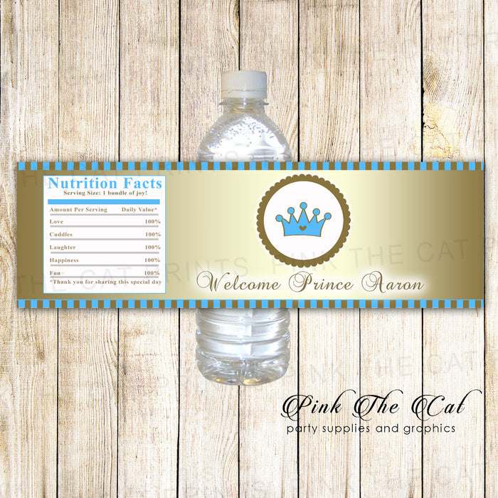 30 Prince bottle label baby shower birthday gold blue