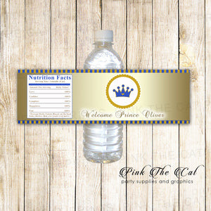 30 Prince bottle label baby shower birthday gold navy blue