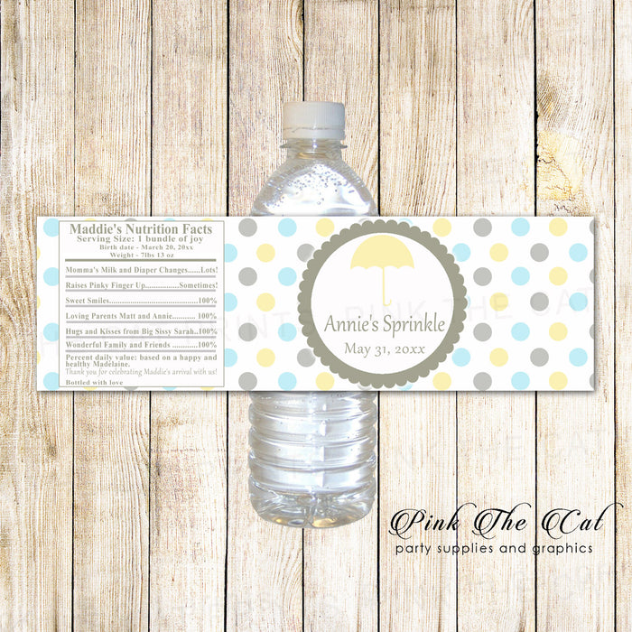 30 bottle labels umbrella baby sprinkle yellow blue silver