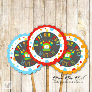 Bounce Themed Party Cupcake Toppers Kids Birthday Printable