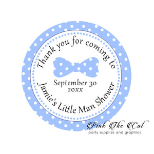 Stickers 2'' bow tie blue personalized baby boy shower (40 set)