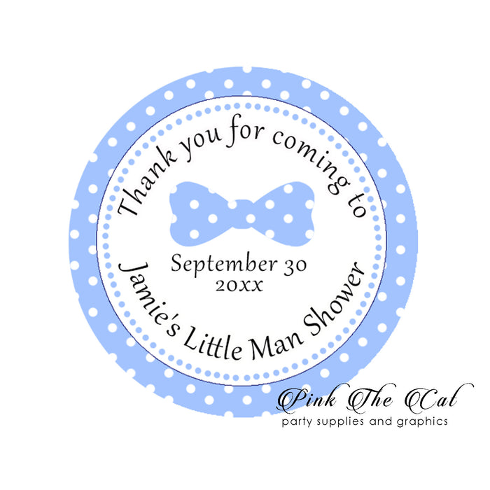 Bow tie blue favor labels blue white printable