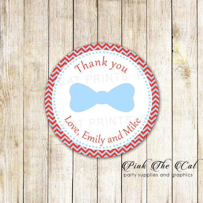 Red Blue Bowtie Favor Tag Label Sticker Little Man Birthday Baby Shower