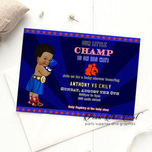 Boxing vintage baby shower invitation royal blue red printable
