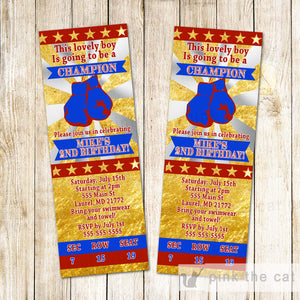 Boxing Invitation Blue Gold Birthday Baby Shower