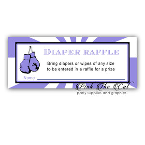 Diaper Raffle Cards Purple Boxing Girl Baby Shower (set with 30)