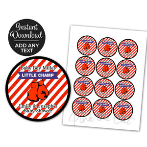 Boxing Cupcake Toppers Birthday Baby Shower Red Printable