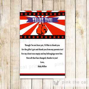 boxing thank you card red