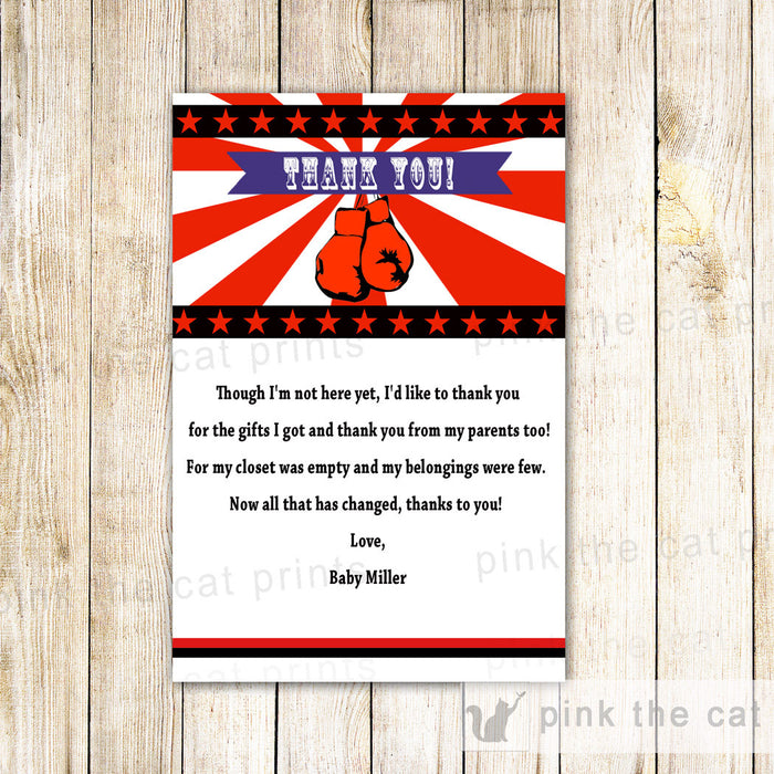 Boxing Thank You Note Birthday Baby Shower