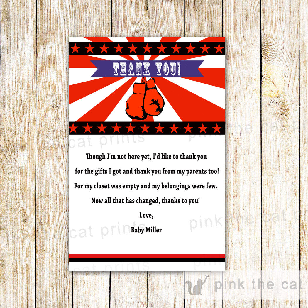 25 Thank You Notes Boxing Birthday Baby Shower Red For Boys – Pink ...