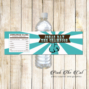30 Bottle Label Stickers Teal Boxing Birthday Baby Shower
