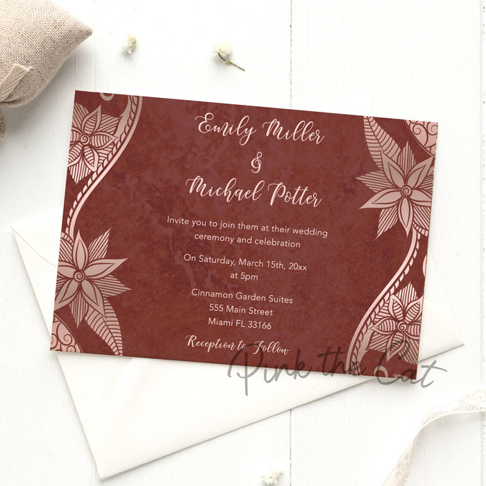 Brown rose & rose gold wedding invitations