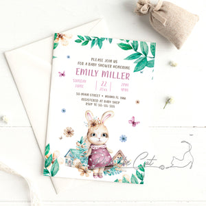 Bunny watercolor baby shower invitation for girls personalized
