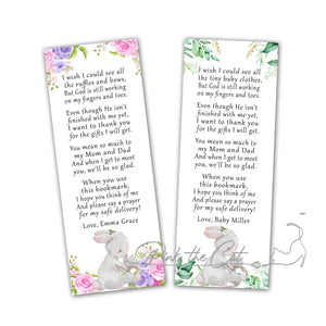 Bunny bookmarks for baby shower