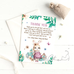 Bunny watercolor thank you card baby shower birth announcement