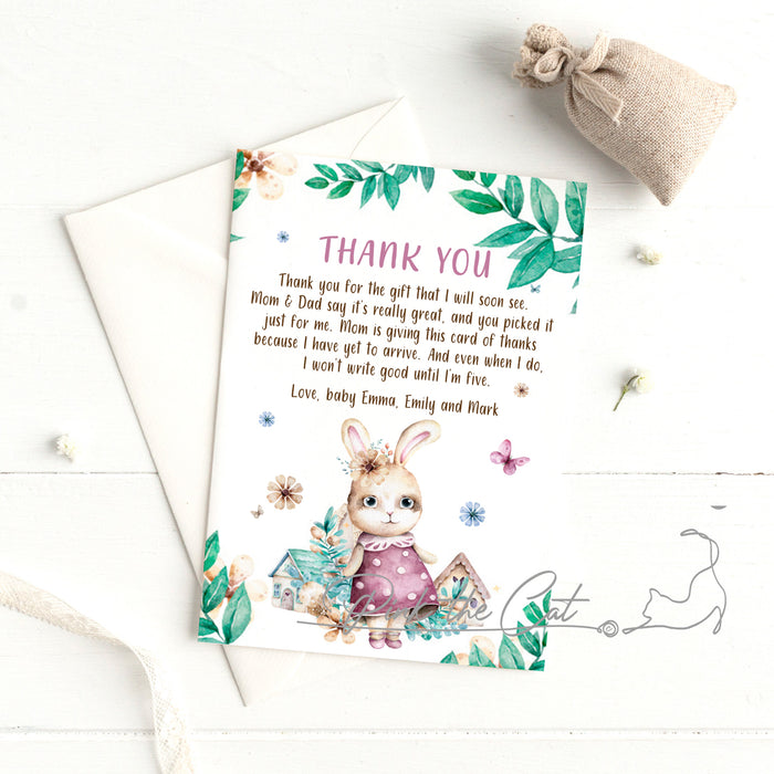 Bunny watercolor thank you card
