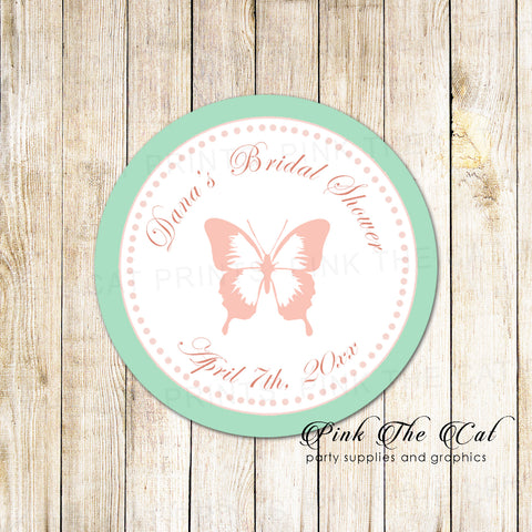 40 Butterfly Favor Label Stickers Bridal Shower Blush Pink Mint