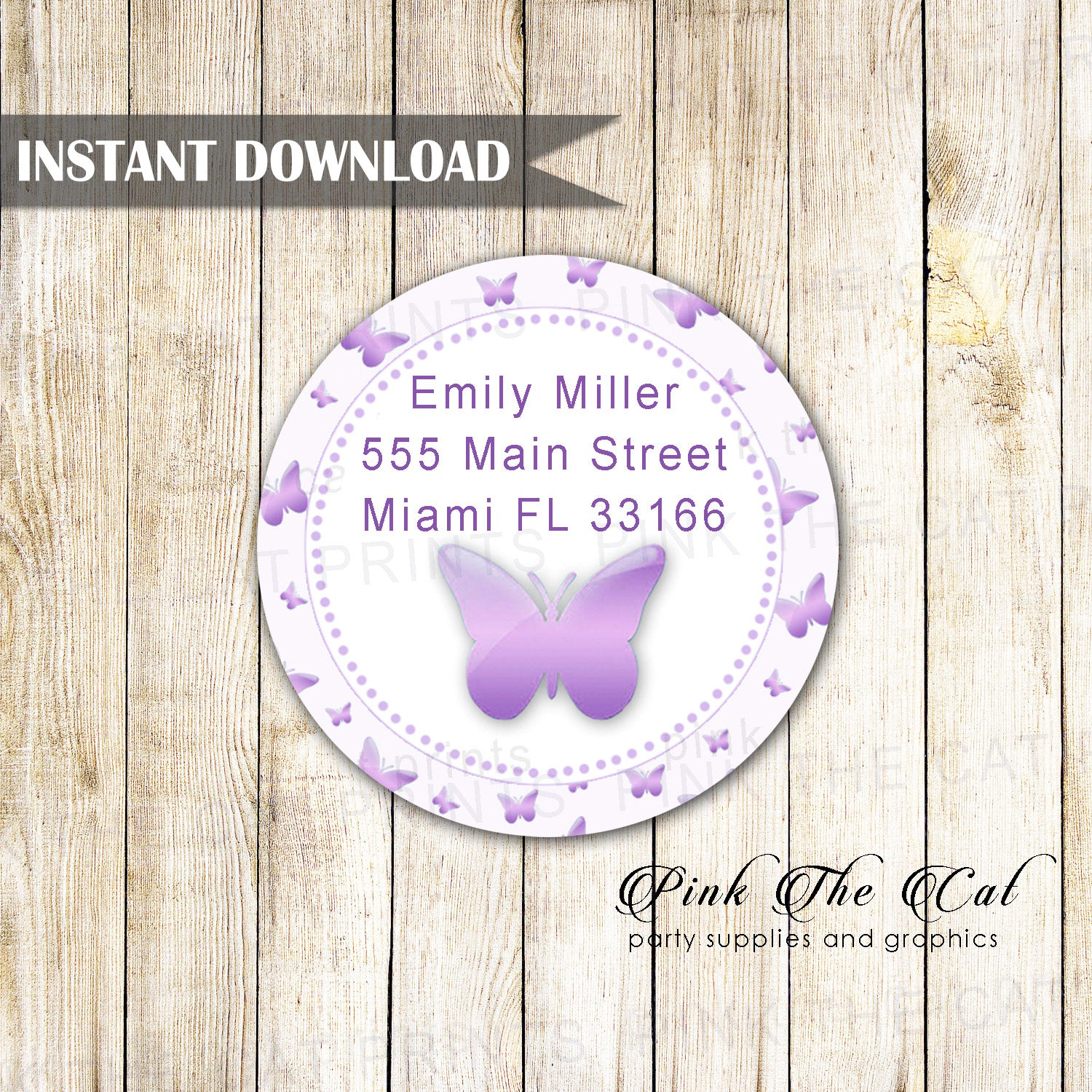 butterfly address labels birthday baby shower purple printable