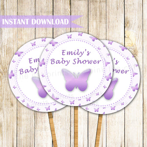 Butterfly cupcake topper birthday baby shower printable