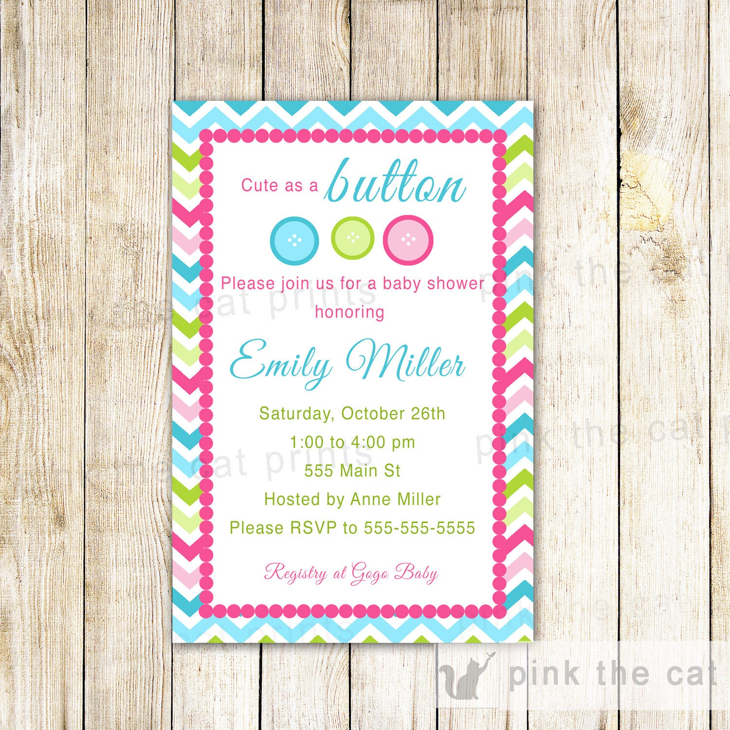 Cute As A Button Invitation Baby Shower Girl Boy Printable Pink Blue ...