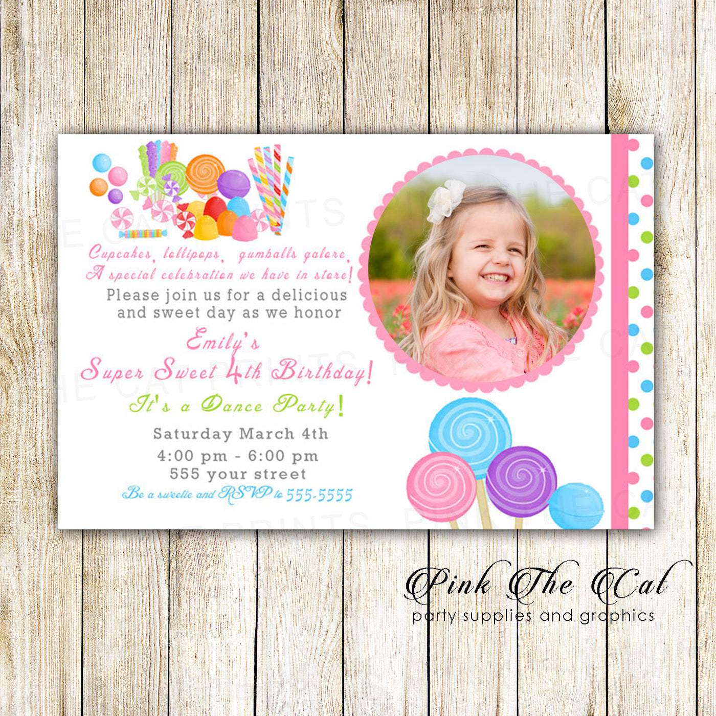 Candy Birthday Invitation With Photo Candy Theme Birthday Party For Girls Invitation Printable Invitation Sweets Birthday Party Invitation
