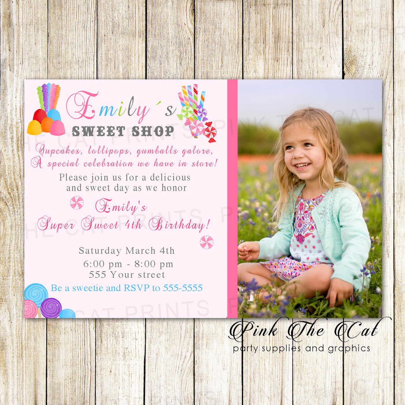 Candyland Birthday Invitation Girl Party Photo Card