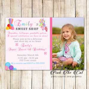 30 Invitations Girl Birthday Candyland Sweets With Photo