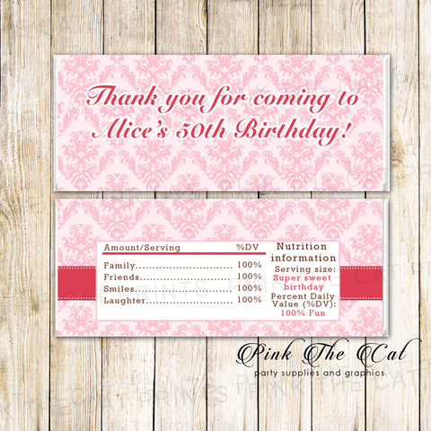 30 Candy Bar Wrappers Red Pink Damask Birthday Favors