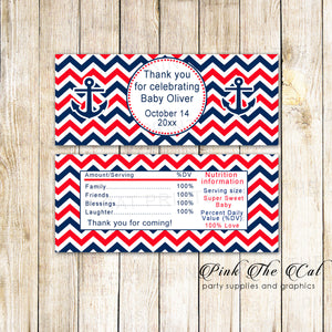 30 Candy Bar Wrappers Nautical Birthday Baby Shower