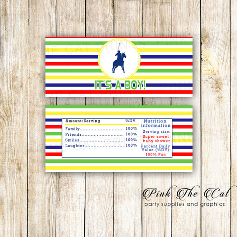 30 Candy Bar Wrappers Polo Birthday Baby Shower Yellow Blue