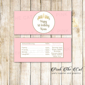 30 Candy Bar Wrappers Princess Blush Pink Birthday Baby Shower